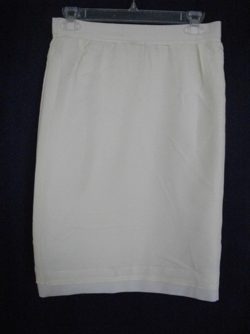 Adolph Schuman Vintage Large Medium Adolph Schuman Ivory 2 Piece Double Breasted Knee Length Skirt Suit
