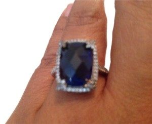 Zales Zales Cushion Cut Blue and White Sapphire Ring in Sterling Silver Ring