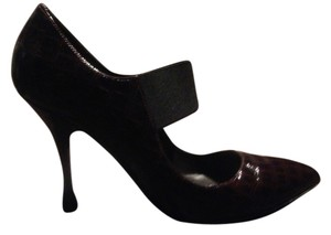 Charles David Leather Dark Berry Patent Allegator with Elastic Strap Pumps