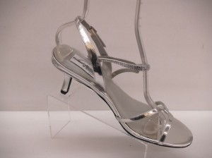 Dyeables Alyssa Silver Size: 9 Small Heel Short Silver Open Toe Wedding Shoes