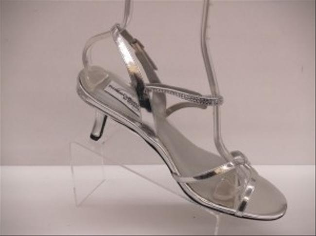 Item - Silver Alyssa Small Heel Short Open Toe Formal Size US 9