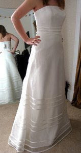Ivory Organza Forever Yours Style No 37107 Traditional Wedding Dress Size 6 (S)
