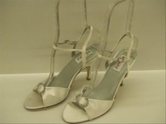Preload https://img-static.tradesy.com/item/48529/dyeables-white-on-fire-satin-open-toe-sandals-bling-rhinestone-brooch-sexy-size-us-9-0-0-540-540.jpg