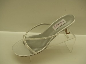 Dyeables Carolyn White Size: 9 Strappy Sandals White Satin Bling Rhinestones Sexy Wedding Shoes