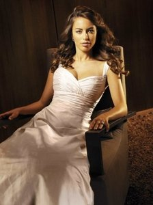 Paloma Blanca Diamond/Silk White Dupioni 3654 Retro Wedding Dress Size 20 (Plus 1x)