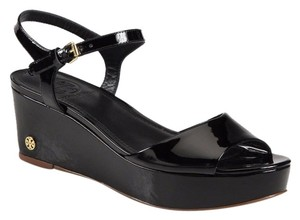 Tory Burch Patent Leather Wedge Sandal BLACK Platforms