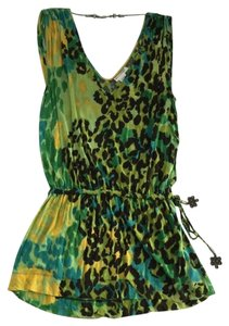 Diane von Furstenberg Dvf Sleeveless Leopard Cheetah Cat Print Blue Printed Chic Oversized Yellow Tunic