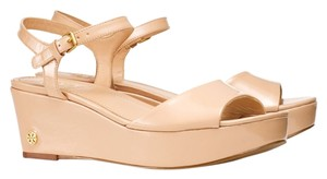 Tory Burch Patent Leather Wedge Platform Tory Beige Platforms