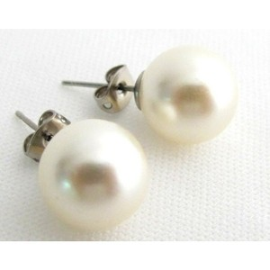 Ivory 12mm Pearl Stud Earrings Wedding Bridesmaid Bridal Earrings