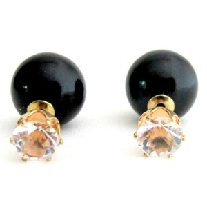 Round Cz Cut With Black Pearl Double Sided Earring Prom Earrings