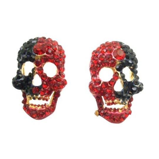 Blood Head Skull Earrings Fully Encrusted W/ Siam Red & Jet Crystals