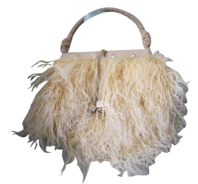 Item - Purse Cream White Leather and Real Fur Satchel