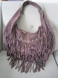 Le'Bulga Fringe Hippie Suede Leather Hobo Bag