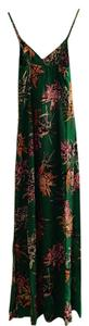 Green Floral Maxi Dress by Yumi Kim Silk Maxi Flowy Comfortable Detail Sleeveless Contrast Spring Summer Evening V-neck