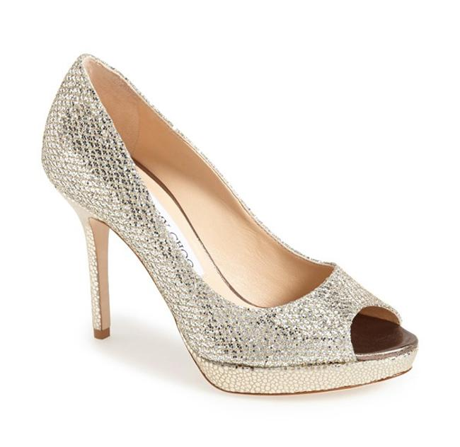 Item - Silver Luna Peep Toe Champagne Glitter Fabric Pumps Size US 7.5 Regular (M, B)