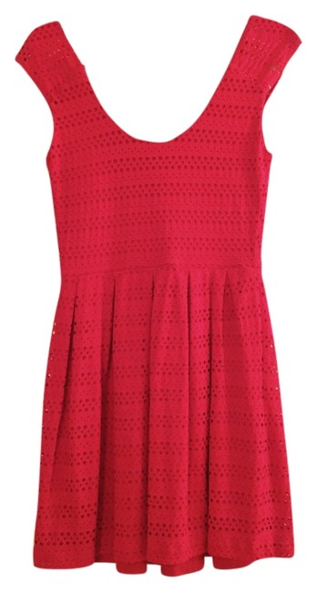 Eight Sixty short dress Pink Spring Summer Sundress Bright Breathable Detail Polka Dot Sleeveless Scoop Back Comfortable Soft Stretchy Knit Crochet on Tradesy