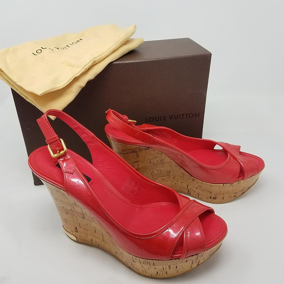 50f387c57f15c6 Louis Vuitton Red Gold Patent Leather Lv Monogram Wedges Sandals ...