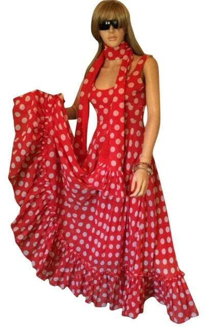 Preload https://img-static.tradesy.com/item/4860787/red-with-white-polka-dots-mid-length-night-out-dress-size-4-s-0-0-650-650.jpg