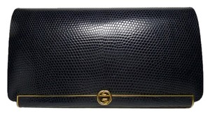 Gucci Lizard Leather Vintage Navy Blue / Gold Clutch
