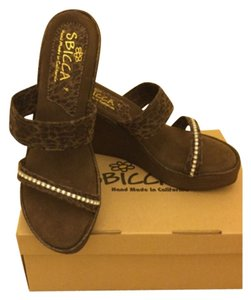 Sbicca Brown Leopard Wedges