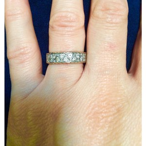 Macy's 14 Karat White Gold Diamond Wedding Band / Ring Set W/ Approx. 0.60 Carats