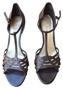 Circa Joan & David Leather Sandals Brown Wedges
