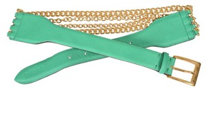 Just Cavalli Just Cavalli Women's Leather Chain Decorated Bright Green Belt Sz US S