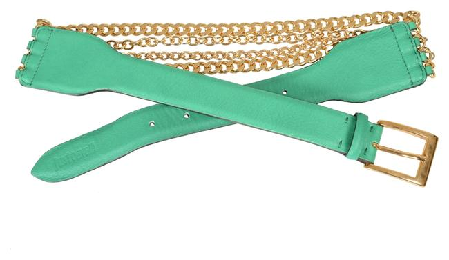 Item - Green / Gold Women's Leather Chain Decorated Bright Belt