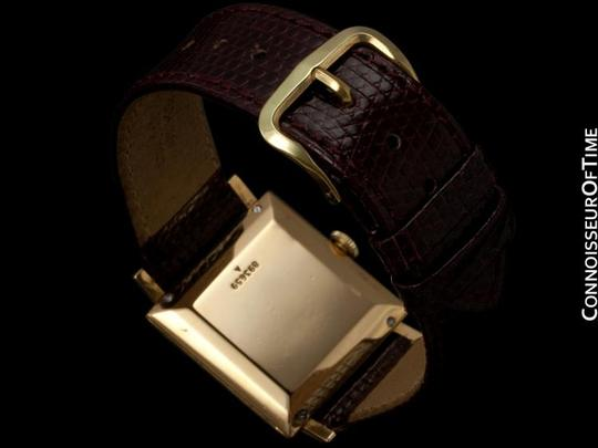 Jaeger-LeCoultre 1950's Jaeger-LeCoultre Vintage Mens Square Watch with Two Dials - 18K Gold & Diamonds