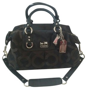 Coach Madison Signature Satchel in Black and Brown