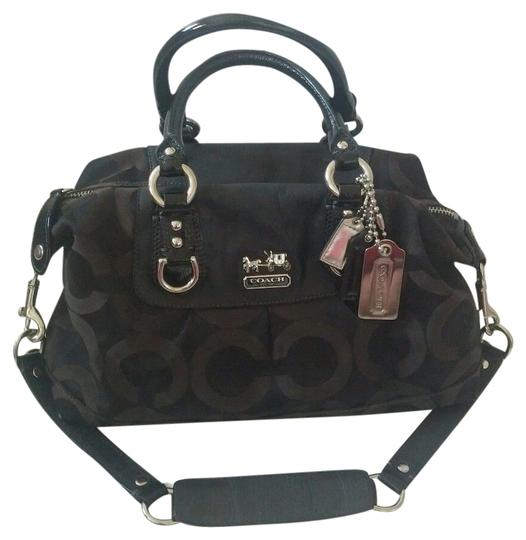Preload https://item3.tradesy.com/images/coach-madison-signature-satchel-black-and-brown-4862182-0-0.jpg?width=440&height=440