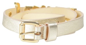 Just Cavalli Just Cavalli Women's Gold Leather Buckle Decorated Belt Sz US S IT 75