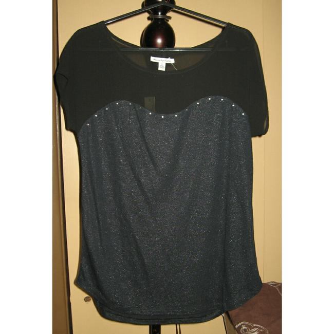 American Eagle Outfitters Sheer Party Night Out Faux Leather Studded Top Black