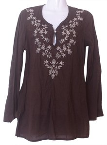 Lucky Brand Brown Chocolate Off-white Cotton Slit Open Longsleeve Tunic