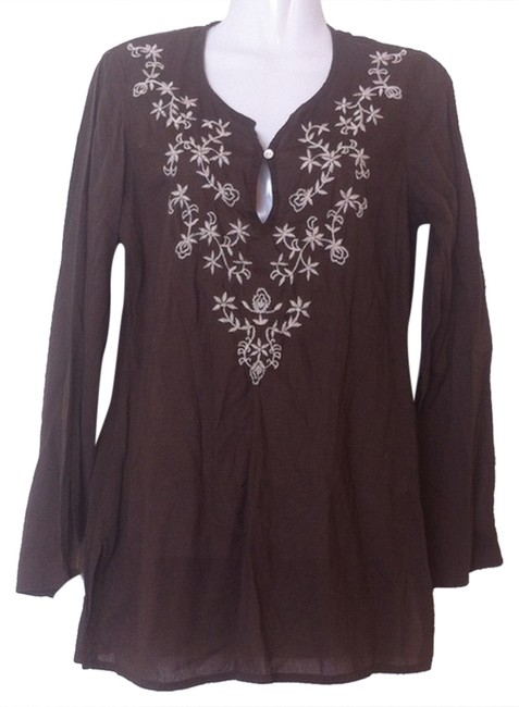 Preload https://img-static.tradesy.com/item/4863109/lucky-brand-brown-off-white-embroidered-cotton-tunic-size-6-s-0-0-650-650.jpg