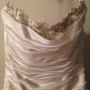 David's Bridal Satin Pick-up With Beaded Lace Peek-a-boo Neckline Wedding Dress