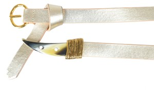 Just Cavalli Just Cavalli Women's Gold Leather Buckle Decorated Belt Sz US XL IT 90