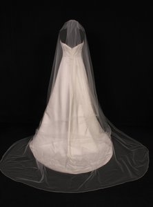 Your Dream Dress Exclusive S0100vl Ivory With Ivory Pencil Edge Cathedral Length Bridal Veil