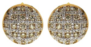 BRAND NEW, Ladies Yellow Gold White and Yellow Diamond Stud Earrings