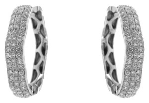 Ladies White Gold Small Diamond Hoop Earrings