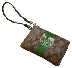 Coach Wristlet in Tan and green