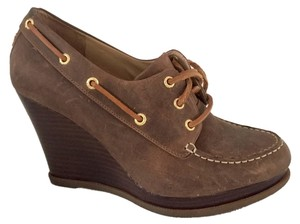 Sperry Leather Wedge Bootie Brown Wedges