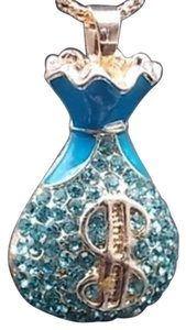 Betsey Johnson NWT Betsey Johnson Blue Crystal Money Bag Necklace