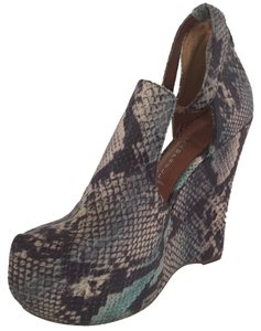 Jeffrey Campbell Snakeskin Animal Print Print Leather Snake Print-Blues Wedges