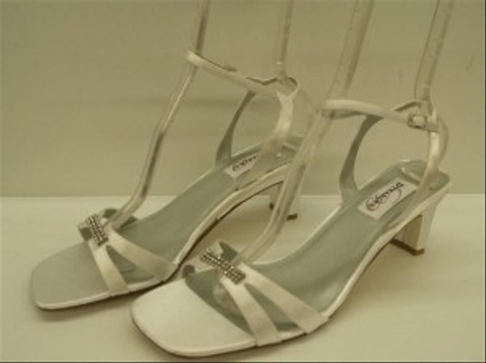 5ddd46407d0 Dyeables White Glory Open Bling Buckle Comfortable Mid Heel Ankle Strap  Destination Wear Sandals