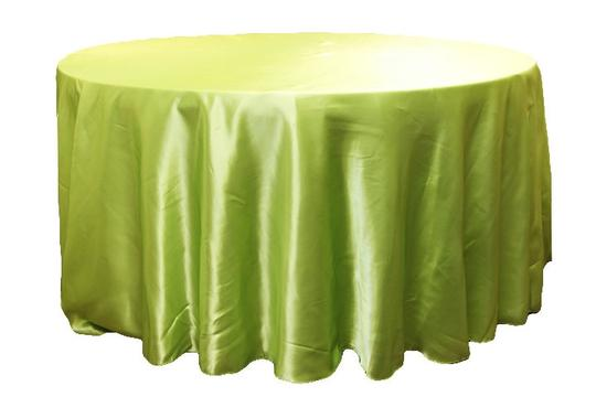 """Other 4 Lime Green/Bright Green Apple 132"""" Round Satin T"""