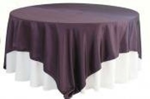 Other Plum/Eggplant Satin Linen 12 Pieces Tablecloth