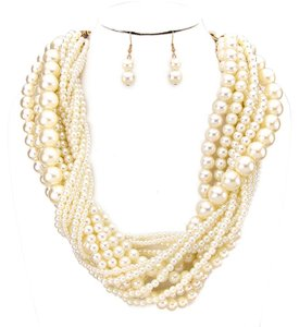 Boho Retro Chic Multi Strand Twisted Pearl Necklace and Earring
