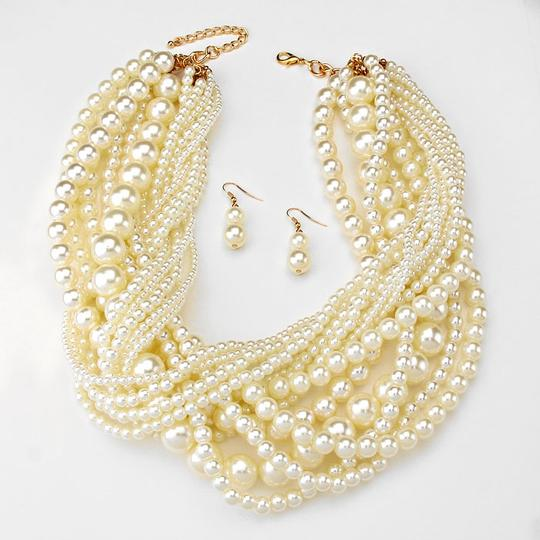 Other Boho Retro Chic Multi Strand Twisted Pearl Necklace and Earring