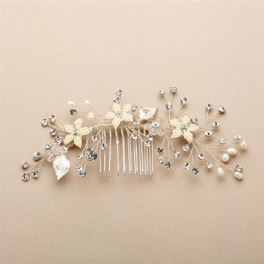 Fresh Water Pearls Crystal Flexible Comb Hair Accessory Image 1